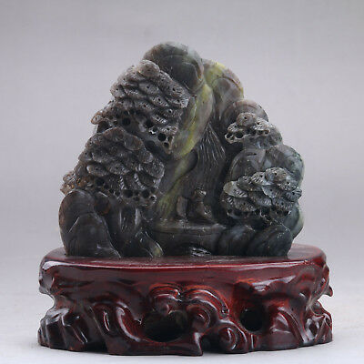 Exquisite 100% Natural DUSHAN Jade Hand Carved tree & Man Statue xx350