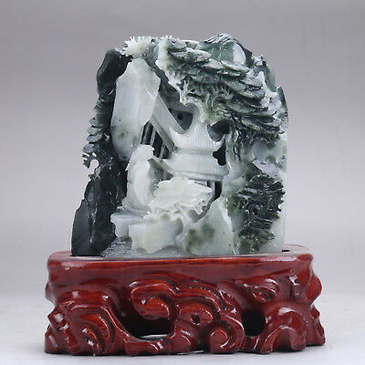 Exquisite 100% Natural DUSHAN Jade Hand Carved tree & Man Statue y24