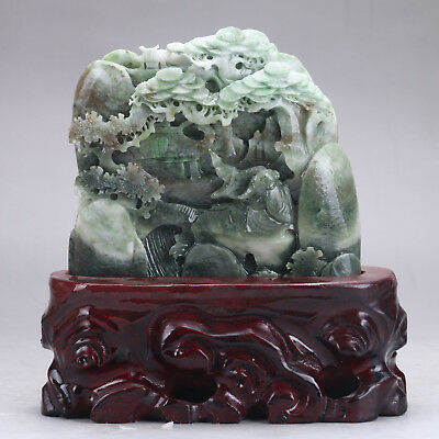 Exquisite 100% Natural DUSHAN Jade Hand Carved tree & Man Statue y91