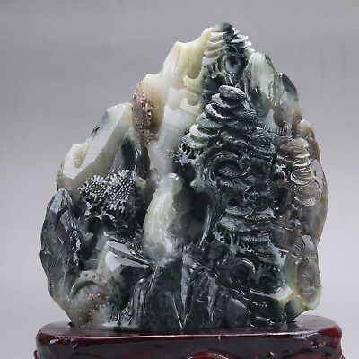 Exquisite 100% Natural dushan Jade Hand Carved tree & Man Statue y338