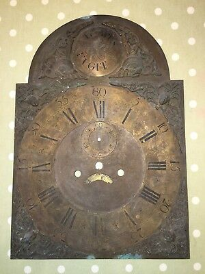 LARGE ANTIQUE GRANDFATHER CLOCK FACE BRASS Early Tempus Fugit Superb Example !