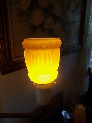 two very nice 1930s 40s art deco orange peach color lamp shades