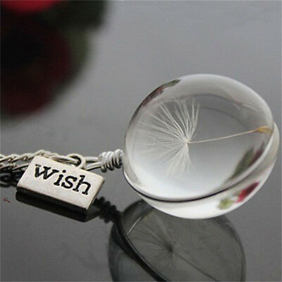 Wish Glass Necklace Dandelion Seed in Glass Pendant Long Necklace Women Gift DSU