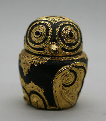 Fantastic Antique Burmese Lacquer Owl Box Decorated With Real Gold Leaf c1920s