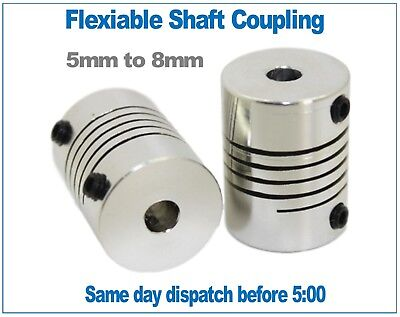 Flexible shaft coupler Aluminium 5mm to 8mm for CNC, 3D printers, stepper motors