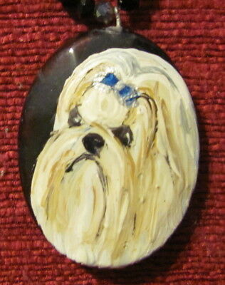 Shih Tzu hand painted on oval, black, faceted pendant/bead/neclalce