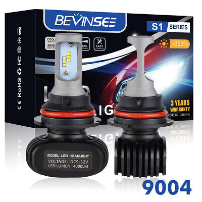9004 HB1 LED Headlight 6500K 50W 8000LM High Low Beam Conversion Kit Power Bulbs