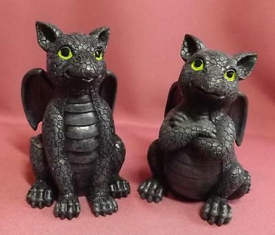 2 DRAGONS INDOOR ORNAMENT STATUE  POLY RESIN  NEW 13cm