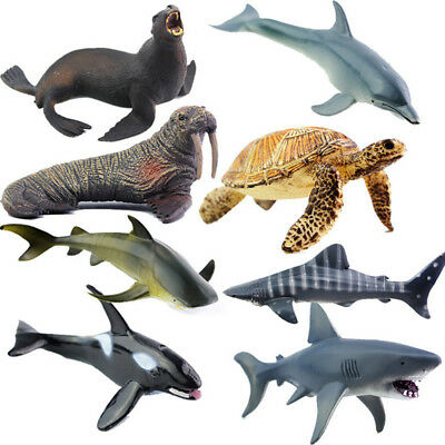 8 Models Ocean Animals Figure Sea Model Toys Dolphin Turtle Whale Kids Gift