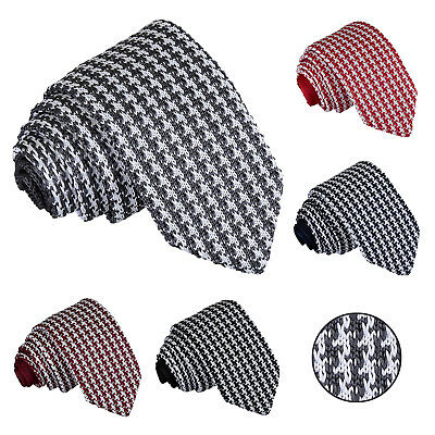 DQT Knit Knitted Geometric Houndstooth Formal Casual Business Mens Slim Tie