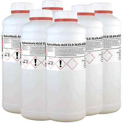**OFFER** Hydrochloric Acid 36.2% 6 Litre (6L) **Shipped in 6 x 1L Bottles**