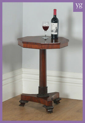 Antique English William IV Flame Mahogany Octagonal Wine Lamp Tripod Table 1830