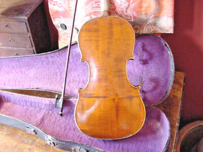 Antique  Violin 4/4 Full Size And Old Bow And Old Case C1900 Unmarked American ?