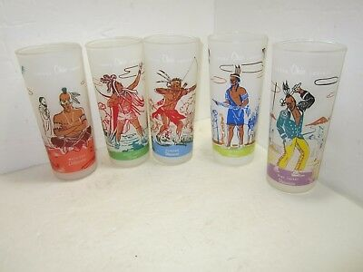 5 Vintage BONDED OIL Co Famous Ohio INDIANS Frosted Glasses 1950s-60s