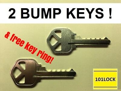 2 Kwikset KW1 Bump Keys with 2 different specs, lockout opening tool universal