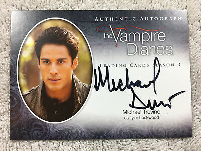 Michael Trevino Auto Autograph Signed Card The Vampire Diaries Tyler Lockwood