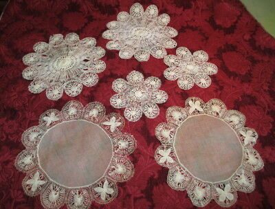 Antique HAND-DRAWN THREAD LACE DOILIES some w/ BATISTE CENTERS ~ 1890s era ~ 6pc