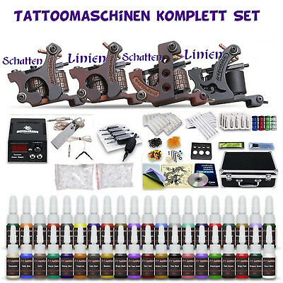 XXL Tattoomaschinen Tattoo Maschine komplett Set Tattoofarbe Ink Tattoonadeln