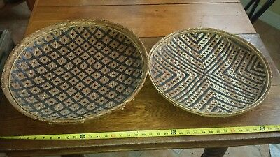 2 Large Vintage Antique Native American Hand Woven Flat Basket / Tray