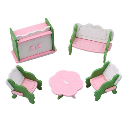 Retro Doll House Miniature Living Room Wooden Furniture Set Kid Pretend Play Toy