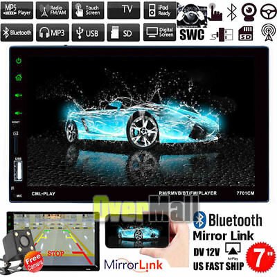 7'' Touch Screen HD 1080P 2DIN Car Bluetooth Stereo MP5 MP3 Player FM Radio+Cam