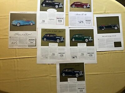 E 1940 to 1941 Packard lot of 7 Gorgeous Vintage Old Car Ads