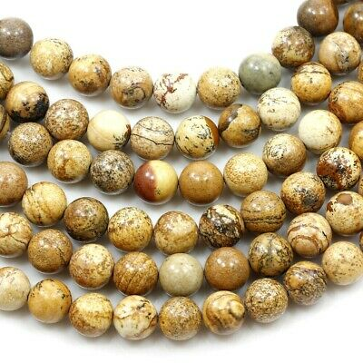 """Natural Picture Jasper Smooth Loose Spacer Round Beads 15"""" 4mm 6mm 8mm 10mm 12mm"""