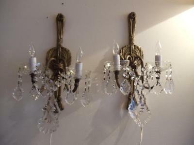 Antique Vtg French Brass Tassel Petite Chandelier Sconce Wall Lamp Pair Crystals