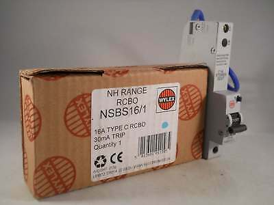 Wylex RCBO 16 Amp 30mA Type C 16A NH Range C16 NSBS16/1 NEW