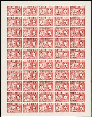 1967 Calf of Man Sir WINSTON CHURCHILL 50-STAMP SHEET Imperf/Imperforate