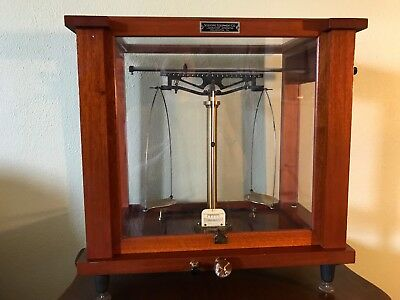 Vintage Apothecary Scale With Mahogany Cabinet and Glass Case