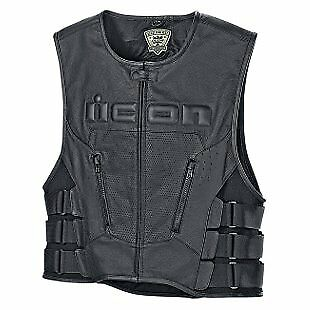 Icon Regulator D30 Mens Leather Vest Black