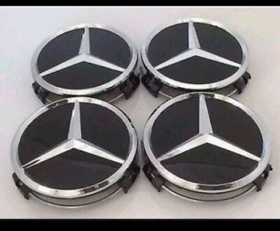 4x MERCEDES BENZ ALLOY WHEEL CENTRE CENTER CAPS BLACK 75MM Merc badges C class