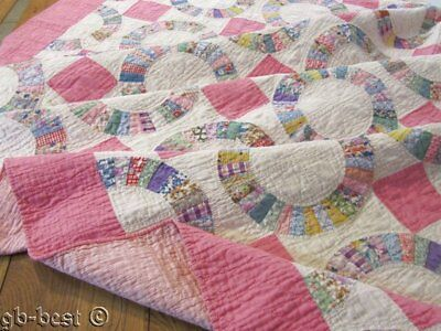 Feedsack Rings! c 1930s Tiny pieces Vintage QUILT pink 84 x 72
