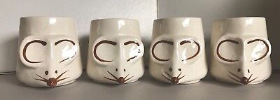 McCoy (4) Mouse Mugs Very Cute and Very Rare (Crazing)