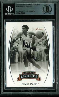 Celtics Robert Parish Signed Card 2007 Press Pass Legends #19 BAS Slabbed