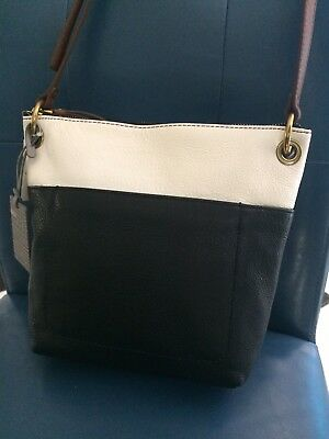 062d0383de2b6 FOSSIL KEELY Crossbody Black/White Multi Leather Handbag ZB7196016 MSP 168$  NEW