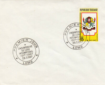 (06517) CLEARANCE Togo Cover Lions Club 29 July 1967