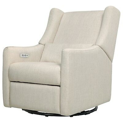 Babyletto Kiwi Glider Recliner with Electronic/USB Control , White Linen - M1128