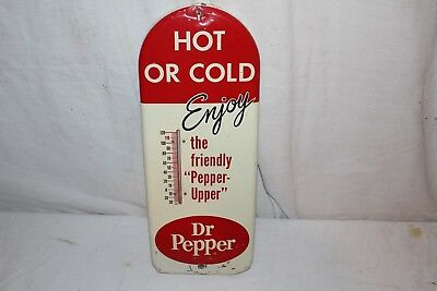 """Vintage 1950's Dr Pepper Hot Or Cold Soda Pop 17"""" Metal Thermometer Sign"""