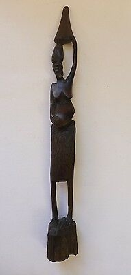 African Wood Carved Slim Small Statue Figurine Decor Display Art