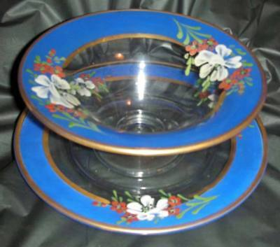 Antique Vintage Hand Painted Bowl And Plate Hand Blow Glass