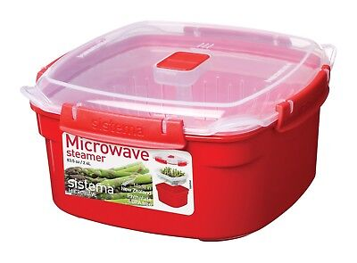 Sistema Microwave Medium Steamer With Removable Steamer Basket - 2.4 L, Red/Clea