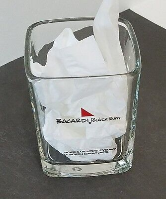 Bacardi Rum Drinking Glass Square Heavy Bottom Whiskey Glass