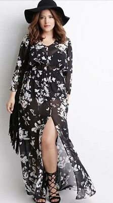 ef421e9d49 FOREVER 21 HM Black Cream Floral Chiffon Dress Nwt Sold Out Size M