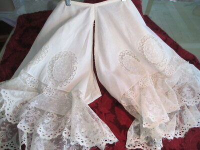 """Antique CLOTHING 1890s layered FRENCH LACE PANTALOONS BLOOMERS appliques  30""""wst"""