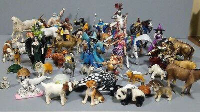 Schleich Safari etc Lot of +50 animals people knights horses farm figures