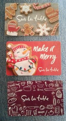 Two Sur la table Gift Cards, 2017, Christmas, Make it Merry, Collectible, Mint