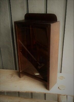 Antique Smaller Wood And Glass Display Cabinet Unusual Mercantile Cabinet OLD!