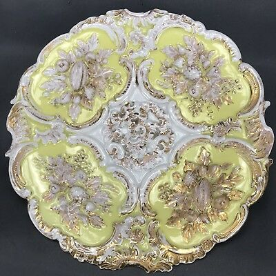 """Meissen German Canary Yellow Flora & Heavy Gold Relief Mold Leaves 10 1/2"""" Plate"""